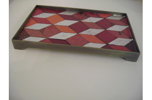 ACC2088: Red Book Cover Tray with Silver Leaf