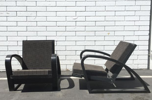 FRN707: Pair of Black 1950s French Low Lounge Chairs