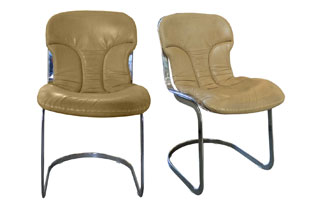 FRN697: Set of Four Italian Chrome and Leather Chairs Designed by Willy Rizzo