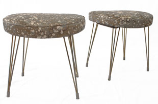 FRN729: Pair of Vintage Stools with Rule of Three Leather