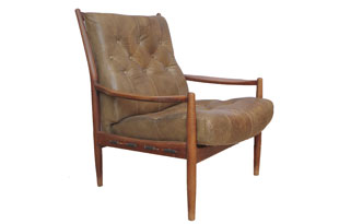 FRN696: Brown Leather Danish Armchair