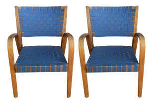 FRN689: Pair of Blue Bootstrap Armchairs