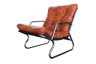 FRN654: Danish Patchwork Leather Lounge Chair