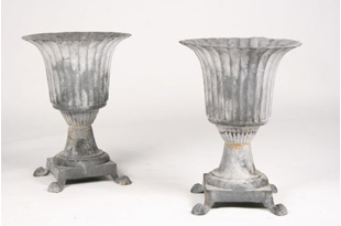 ACC2059: Pair of Cast Iron Fluted Urns of Footed Base