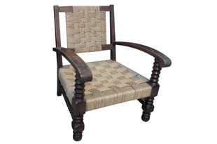 FRN812: French Seagrass and Wood Lounge Chair