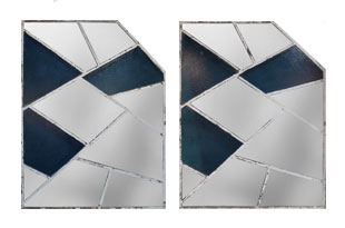 ACC3474: Pair of Painted Blue Glass and Metal Mirrors