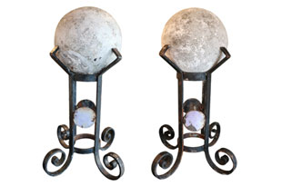 ACC3475: Pair of Stone Balls on Stands