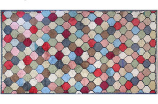 RUG071: Vintage Pastel Hexagon Patterned Rug