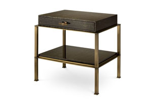 FRN845: Gambrel Nightstand with Brass Base