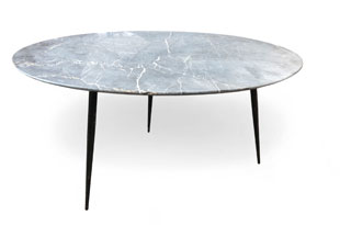 FRN916: Oval Marble Top Coffee Table with Iron Legs