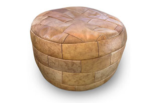 FRN928: Brown Leather Ottoman