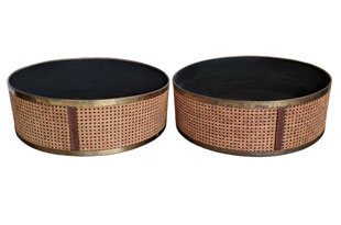 ACC4106: Pair of Rattan & Leather Low Planters