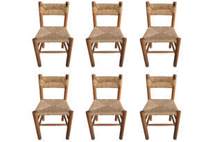 FRN872: Set of Six Rush Wood Chairs