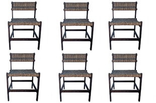 FRN933: Set of Six Rush Jordan Dining Chairs