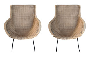 FRN921: Pair of Rattan Bucket Chairs