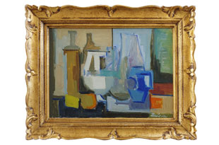 ART587: Abstract Still Life with Ornate Gold Frame