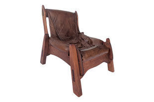 FRN868: Brazilian Cherrywood & Leather Low Chair