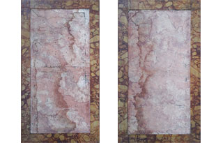 ART573: Pair of Vintage Painted Canvases with Faux Marbleized Frames