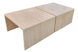 FRN893: Pair of Travertine Coffee Tables