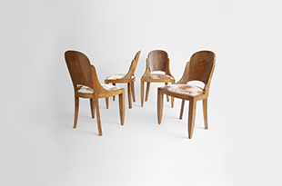FRN022: Harbinger NY - Set of Four Curved Backwood Chairs