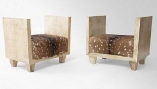 FRN045: Harbinger NY - Pair of Deer Skin Upholstered Parchment Benches