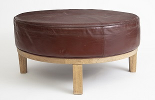 FRN023: Harbinger NY - Red Leather Ottoman