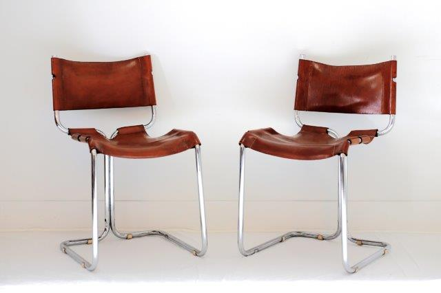 FRN1124: Chrome & Leather Chairs