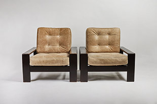 FRN524: Pair of Wood & Upholstered Armchairs