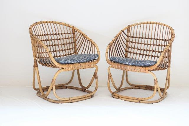 FRN2010: Pair of Tito Agnoli Rattan Chairs