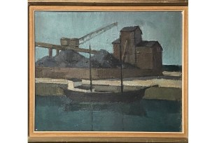 Oil Painting of Boat in Harbor