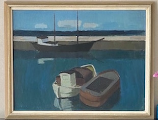 Oil Painting of Three Boats in Harbor