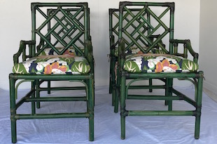 NY FRN2053: S/4 Bamboo Green Painted Chairs