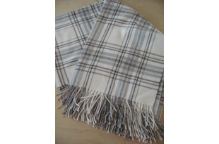 ACC1320: Baby Alpaca Throw - Ivory/Browns Plaid