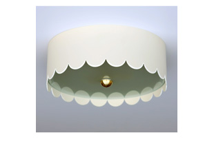 LIT217: Scallop Flush Mount: Ivory w/White Trim