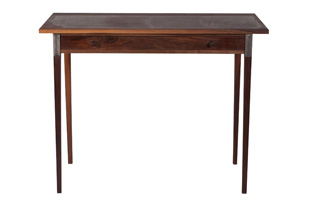FRN443: Moore & Giles: Walnut Writing Table with Leather Inlay