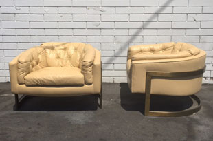 FRN653: Large Bronze and Leather Lounge Chairs