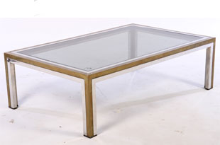 FRN609: Two Toned Brass and Chrome Coffee Table