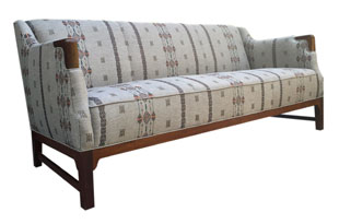 FRN646: Vintage Danish Sofa with Coral & Tusk Fabric