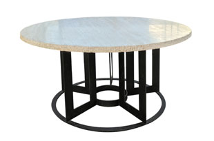 FRN623: Travertine and Iron Dining Table