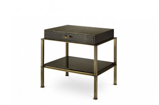 FRN668: The Lacquer Company Gambrel Nightstand with Brass Base