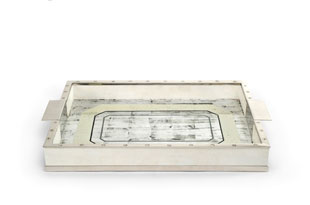 ACC3174: The Lacquer Company Eglomise Tray - Silver/Nickel