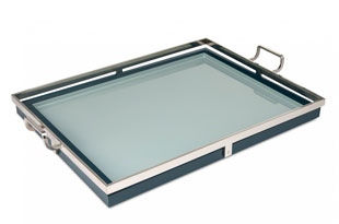 ACC3177: The Lacquer Company Large Howard Tray - Teal/Nickel