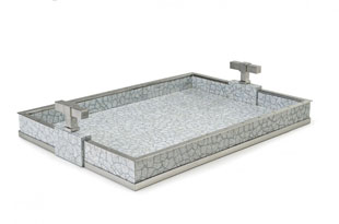 ACC3171: The Lacquer Company Large T Handle Tray - Grey/Nickel