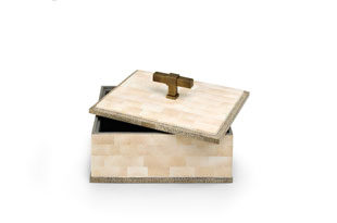 ACC3170: The Lacquer Company T Handle Box - Beige/Brass