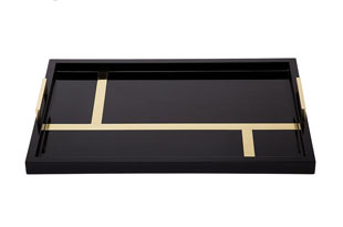 ACC3166: The Lacquer Company Righe Tray - Black/Brass